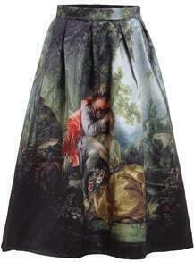 Black Forest Print Flare Skirt