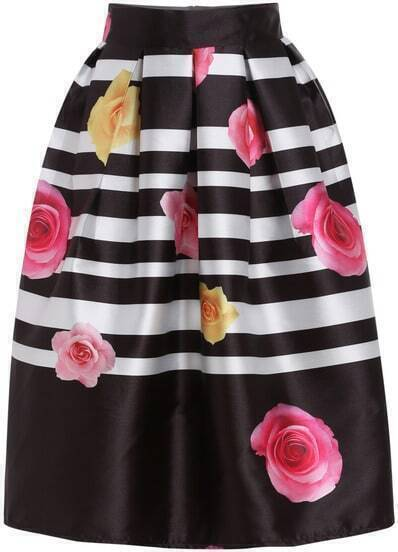 Black Striped Peony Print Flare Skirt