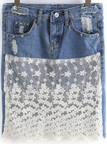 Blue High Waist Lace Denim Skirt