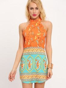 Orange Halter Vintage Print Backless Dress