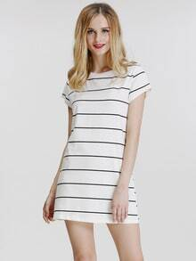 White Cap Sleeve Striped T-Shirt Dress