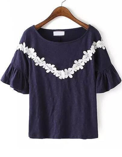 Navy Bell Sleeve Lace Loose Blouse