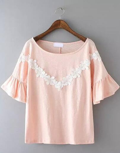 Pink Bell Sleeve Lace Loose Blouse
