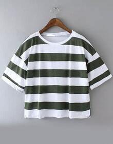 Green Short Sleeve Striped Crop Loose T-Shirt