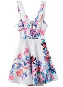 White Strap V Neck Floral Bow Dress