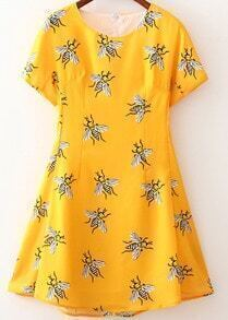 Yellow Short Sleeve Bee Print Dress