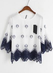 White Half Sleeve Lace Loose Blouse