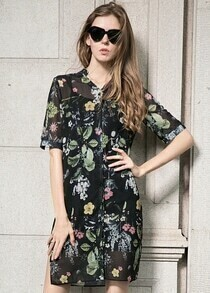 Black Short Sleeve Leaves Print Two Pieces Dress