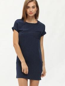 Navy Short Sleeve Vertical Stripe Bodycon Dress
