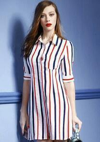 Red Blue Collars Half Sleeve Vertical Stripe Shirt Dress