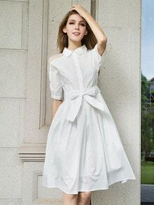 White Sheer Shoulder Bead Tie-waist Dress