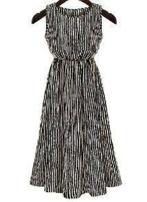 Black White Sleeveless Vertical Stripe Dress