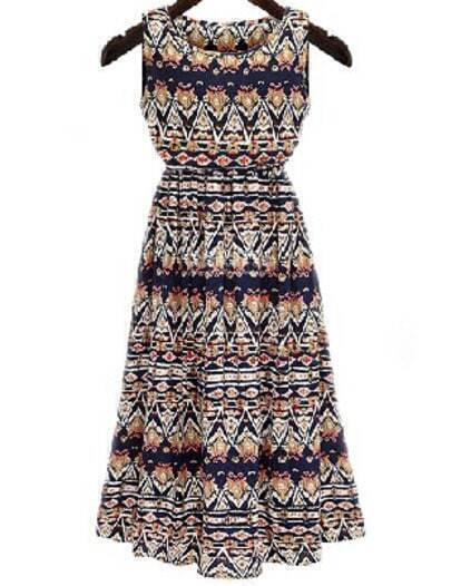 Black White Fling Sleeveless Tribal Print Dress