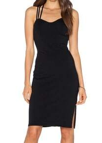 Black Spaghetti Strap Split Bodycon Dress