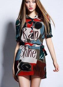 Red Short Sleeve Letters Print Tie-Waist Dress