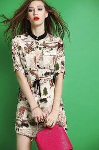Apricot Short Sleeve Tribal Print Slim Dress