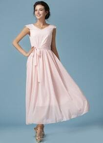 Pink V Neck Sleeveless Romantic Loved Lolita Tie-waist Dress