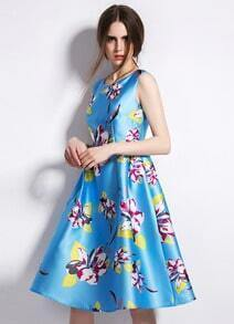 Blue Sleeveless Vintage Floral Flare Dress