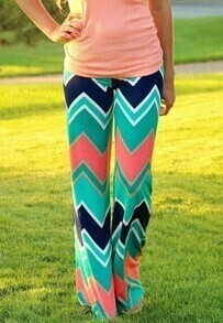 Multicolor Zigzag Print Loose Pant