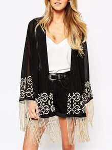 Black Long Sleeve Tribal Embroidered Tassel Kimono