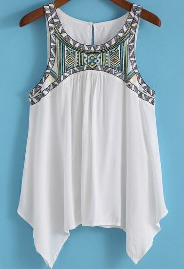 White Round Neck Embroidered Loose Tank Top