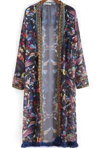 Multicolor Long Sleeve Tribal Print Tassel Kimono