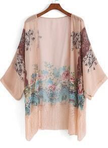 Apricot Floral Tassel Loose Kimono