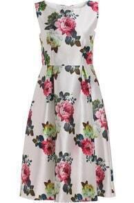 White Sleeveless Peony Print A Line Dress