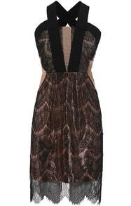Khaki Criss Cross Back Lace Slim Dress