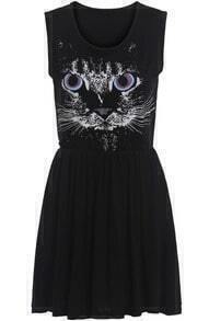 Black Sleeveless Cat Print Pleated Dress