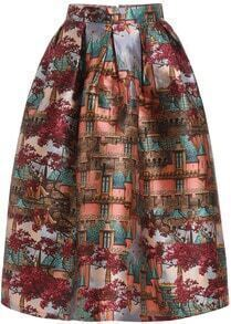 Red Building Print Flare Skirt