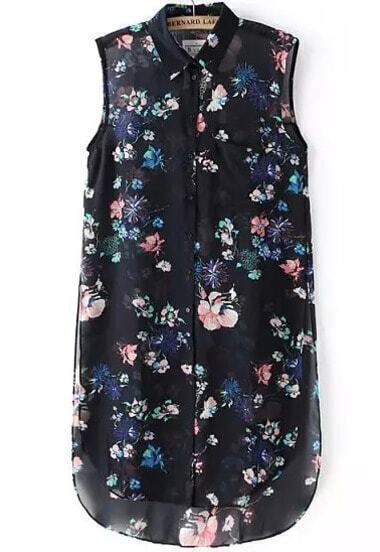 Black Lapel Sleeveless Floral Dip Hem Blouse