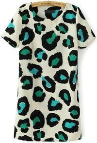 Green Short Sleeve Leopard Straight Dress