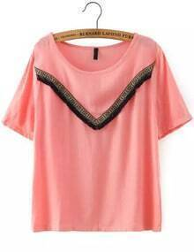 Pink Short Sleeve Tassel Loose T-Shirt