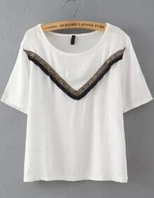 White Short Sleeve Tassel Loose T-Shirt