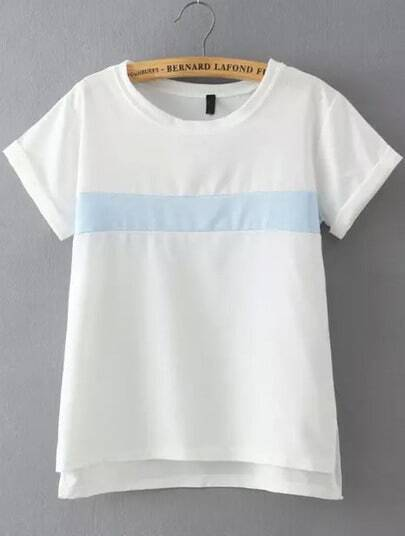White Blue Short Sleeve Loose T-Shirt