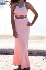 Pink Beachdresses Criss Cross Back Backless Maxi Dress