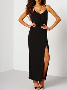 Black Spaghetti Strap Split Maxi Dress