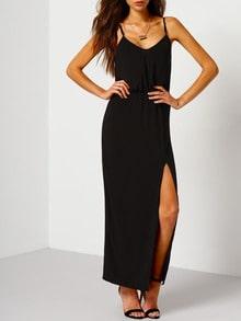 Black Spaghetti Strap Split Maxi Dress