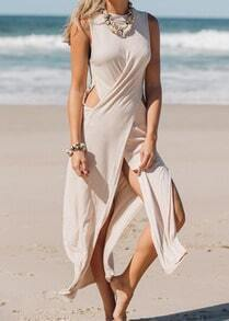 Apricot Pool Sleeveless Hollow Split Maxi Dress