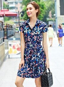 Blue Lapel Short Sleeve Leaves Print Shirt Dress