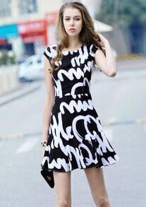 Black Fling White Cap Sleeve Letters Print Chiffon Dress