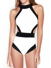 White Halter Contrast Trims Hollow Swimwear