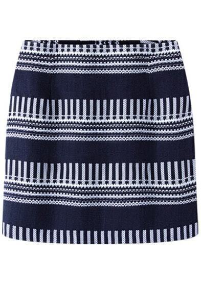 Blue Striped Bodycon Skirt