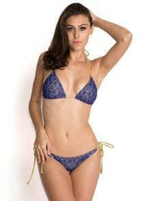 Royal Blue Halter Triangle Grid Bikini Set