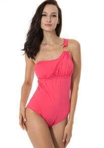 Watermelon Red Asymmetrical Neckline Teal One-piece Swimwear with Goldtone Ring and Adjustable Ties at Neck