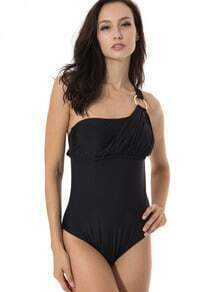 Black Asymmetrical Neckline Teal One-piece Swimwear with Goldtone Ring and Adjustable Ties at Neck