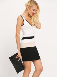 White Black Sleeveless Color Block Backless Dress