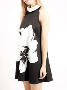 Black Sleeveless Flower Print Dress