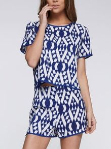 Blue Short Sleeve Geometric Print Top With Shorts